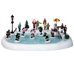Lemax Village Collection Hockey In The Park Set of 19 with Adaptor # 44766