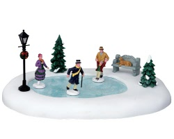 Lemax Village Collection Skating In The Park Set of 8 Battery Operated # 44768