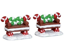 Lemax Village Collection Peppermint Cookie Bench Set of 2 # 44812
