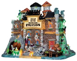 Lemax Spooky Town Isle Of No Return Prison with Adaptor # 45664
