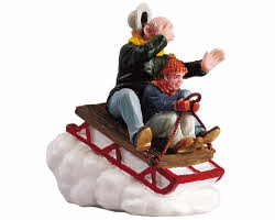 Lemax Village Collection Sledding With Gramps # 52084