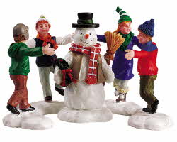 Lemax Village Collection Ring Around The Snowman Set of 3 # 52112