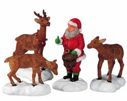 Lemax Village Collection Santa Feeds Reindeer Set of 4 # 52146