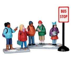 Lemax Village Collection Bus Stop Set of 3 # 52339