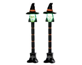 Lemax Spooky Town Witch Lamp Post Set of 2 Battery Operated # 54914