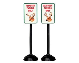 Lemax Village Collection Reindeer Parking Only Sign Set of 2 # 54939