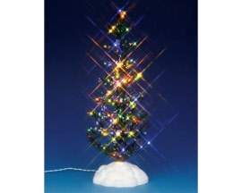 Lemax Village Collection Lighted Pine Tree Multi Color Large Battery Operated # 54950