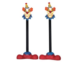 Lemax Spooky Town Killer Clown Lamp Post Set of 2 Battery Operated # 64056