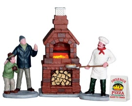 Lemax Village Collection Outdoor Pizza Oven Set of 4 Battery Operated  # 64066