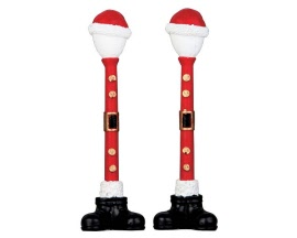 Lemax Village Collection Santa Street Lamp Set of 2 Battery Operated  # 64067