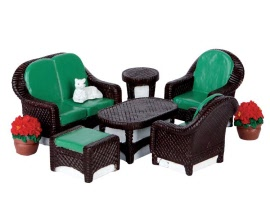 Lemax Village Collection Wicker Lawn Set Set of 8 # 64077