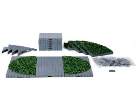 Lemax Village Collection Plaza System Grey Round Grass 24 pieces # 64108