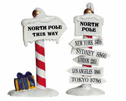Lemax Village Collection North Pole Signs Set of 2 # 64455