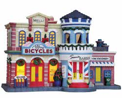 Lemax Village Collection Bike, Barber & Stationery Shop # 85693
