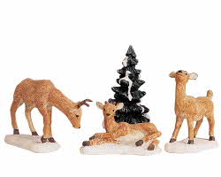 Lemax Village Collection Dad And Fawns Set of 4 # 92299