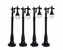 Lemax Village Collection Antique Street Lamp Set of 4 # 94993