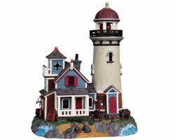 **NO OUTER BOX** Lemax Village Collection Seal Point Lighthouse with Adaptor # 95839 **READ DESCRIPTION**
