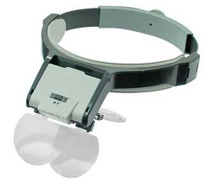 Illuminated Magnifier Visor with Four Lenses