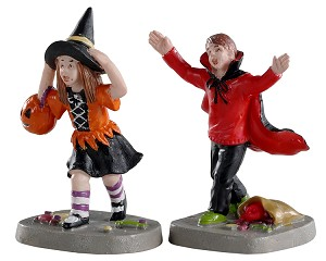 Lemax Spooky Town Terrified Trick-Or-Treaters Set of 2 # 02903