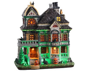 Lemax Spooky Town Grimsbury Haunted House with Adaptor # 05609