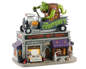 Lemax Spooky Town The Creature's Custom Hot Rod Shop # 05611