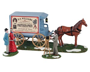 Lemax Village Collection Traveling Photographer Wagon Set of 3 # 13561