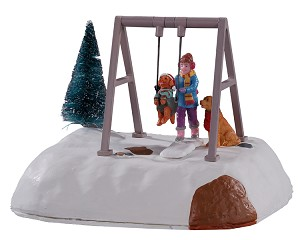Lemax Village Collection Puppy Gets A Swing Ride Battery Operated # 14836