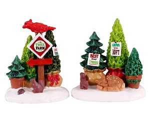 Lemax Village Collection Tree Farm Display Set of 2 # 14844