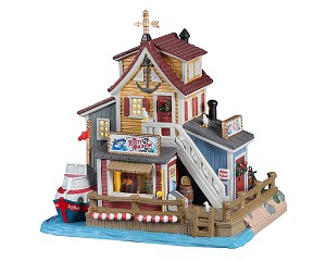 Lemax Village Collection The Rusty Anchor Deep Sea Charter Fishing # 15755