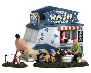 Lemax Village Collection Wally's Pet Wash Wagon  Set of 3 # 63279