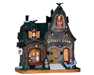 Lemax Spooky Town Creepy Doll Shop with Adaptor # 65071