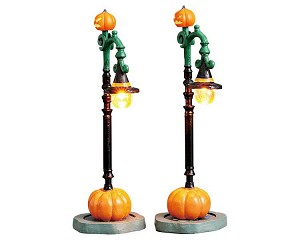 Lemax Spooky Town Witch Pumpkin Patch Set of 2 Battery Operated # 74217