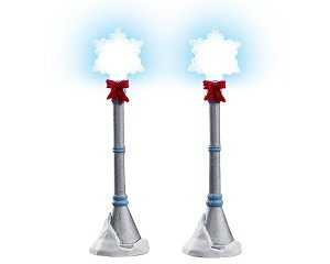 Lemax Village Collection Snowflake Lamp Post Set of 2 Battery Operated # 74228