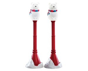 Lemax Village Collection Polar Bear Street Lamp Set of 2 Battery Operated # 74230