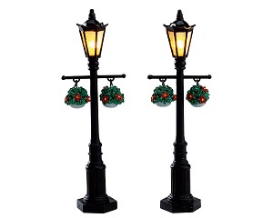 Lemax Village Collection Old English Lamp Post Set of 2 Battery Operated # 74231