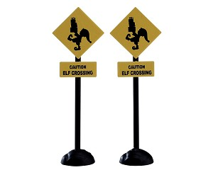 Lemax Village Collection Elf Crossing Sign Set of 2 # 74238