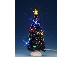 lemax village collection multi color light evergreen tree medium 6 inch battery operated 74266
