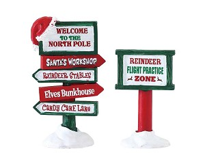 Lemax Village Collection North Pole Signs Set of 2 # 74325