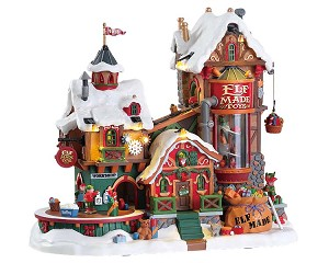 Lemax Village Collection Elf Made Toy Factory with Adaptor # 75190