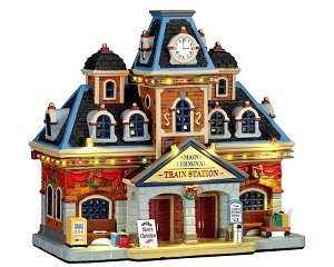 Lemax Village Collection Main Terminal Train Station with Adaptor # 75194