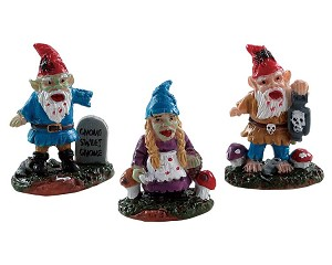 Lemax Spooky Town Zombie Garden Gnomes Set of 3 # 82569