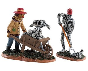 Lemax Spooky Town Ghoulish Gardeners Set of 2 # 82573