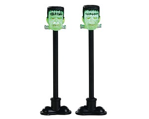 Lemax Spooky Town Frankenstein Lamp Post Set of 2 Battery Operated # 84337