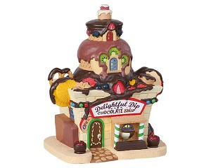 Lemax Village Collection Delightful Dip Chocolate Shop Battery Operated # 85382