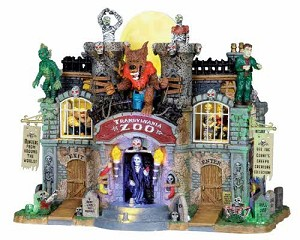 Lemax Spooky Town Transylvania Zoo with Adaptor # 05041