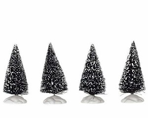 Lemax Village Collection Bristle Tree Set of 4 Mini 2 1/2 inch # 14005
