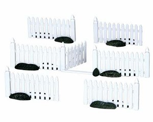 Lemax Village Collection Plastic Picket Fence Set of 7 # 14388