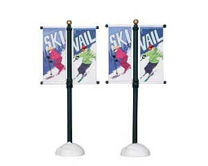 Lemax Village Collection Street Pole Banner Set of 2 # 24496