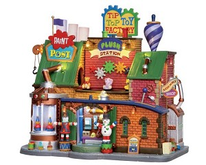 Lemax Village Collection Tip Top Toy Factory with Adaptor # 25442