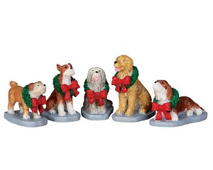 Lemax Village Collection Christmas Pooch Set of 5 # 32138